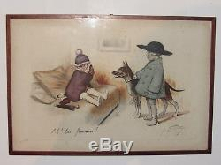 10d16 Old Engraving Framed Lithograph Drawing Children Sign Georges Redon