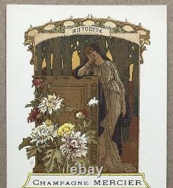 4 Litho Menus Art Nouveau Elisabeth Sonrel Champagne Mercier 4 Seasons Around 1900