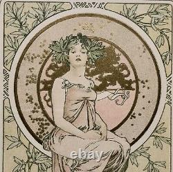 Alfons Mucha Lithograph Sheet D'or Portrait Print Art Nouveau 1900
