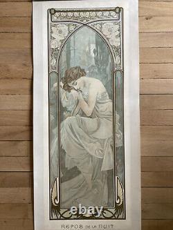 Alphonse Mucha Rest Of The Night, 1899 Original Stone Lithography Full Margin
