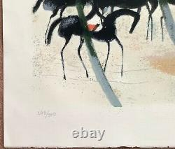 André Brasilier- Riders On Snow-1970 -original Signed Lithography/ No.