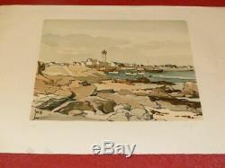 Art Twentieth Robert Yan Beautiful Original Signed Lithography Harbor Lighthouse Britain