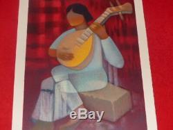 Art Twentieth Toffoli Beautiful Original Signed Lithography Woman With A Mandolin
