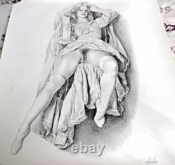 Aslan Rare Dessin Lithograph Erotic Woman Signed And Numbered