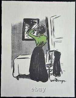Beautiful Lithography By Kees Van Dongen Woman At The Mirror