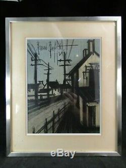 Bernard Buffet Village Framed Original Lithograph Inox Sun 30 X 23 CM