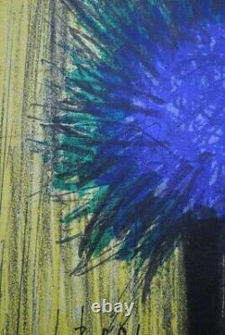 Buffet Bernard The Original Blue Lithography Bouquet Signed, Mourlot, 1967