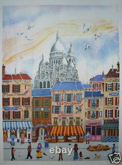 Delcroy Lithograph Signed Numbered Art Naïve Sacré Coeur Paris Montamartre