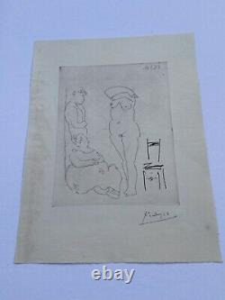 Engraving Pablo Picasso, Bloch 986, Litho Signed Main, 31x41cm, Shot In 50 Ex