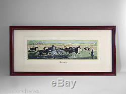 Equestrian Etching, Litho, J. Pollard, Horses, Horse Racing, Riders, Jockeys