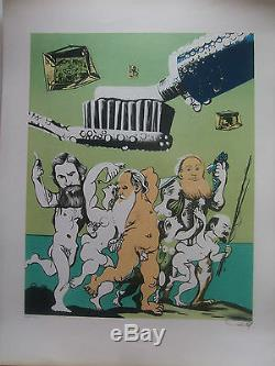 Erro Gudmundur Original Lithograph Numbered And Signed In 1969 Three Tolstoy