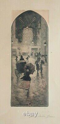 Etching Lithography Original Delâtre Eugene (1865-1922) Moulin Rouge Paris 1900