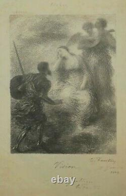 Fantin Latour Ignatius H. Vision 1869. Original Signed Lithograph - Signed