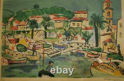 François Desnoyer (1894-1972). Lithography Port Scene. V829