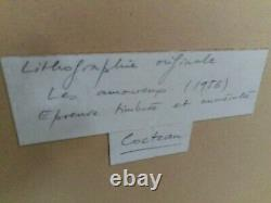 French Lithograph Signed Handwritten Label, Jean Cocteau Les Amours