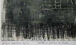Gaulme Jacques Lithography Signed Crayon 1952 Monotype Handsigned Lithograph