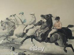 Great Old Litho E. Ciceri The Start Of The Race, Horses, Jockeys