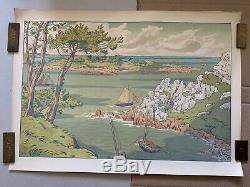 Henri Riviere Etching Breton Lithography Kingdom Marine 1900 Lîle