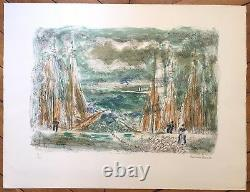 Hermine David Signed Lithography Numbered Boats Sea Sea Fishermen Fishing