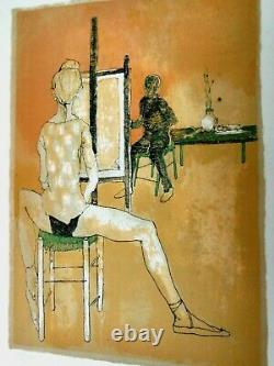 Jansem Jean -rare Original Lithography Signee 1960 -the Painter And His Model