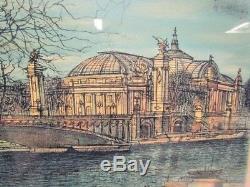 Jean Carzou Lithographie, Dock Seine, Bridge Alexandre Iii, The Grand Palace 1967