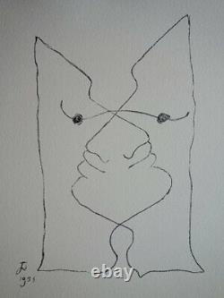 Jean Cocteau Intertwined Visages Lithography Original Signed