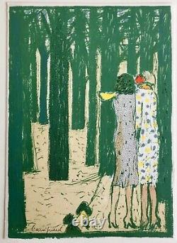 Jean-pierre Cassigneul Two Elegant In The Wood, Original Lithograph Signed