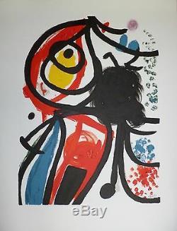 Joan Miro Lithograph Signed On Vellum Abstract Art Surrealism Barcelona Paris