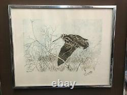 Lamotte Gabriel Bécasse Theme Hunting Lithography Engraving Signed