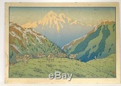 Large Color Lithograph Henri Rivière Mountain Landscape Herd Nineteenth