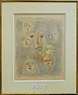 Léonor Fini (1907-1996) Lithography Mechanical Printing Faces Signed