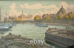 Lithography Henri Riviere L Institut Et La Cite Serie Landscapes Parisiens M238