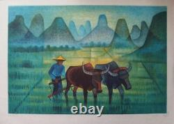 Louis Toffoli Buffaloes In An Original Lithography Rice Paddy #signée Pencil