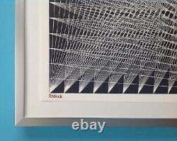 Lucile Keeler Roebuck Framed Lithography Signed 1965 Op Art Yvaral Vasarely