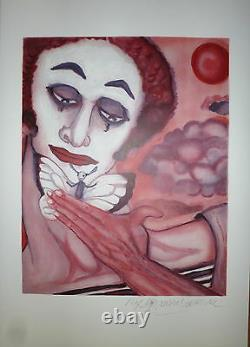 Mime Marceau Marcel Lithography Signed Flower Drawing Bip Mime Art Moonwalk