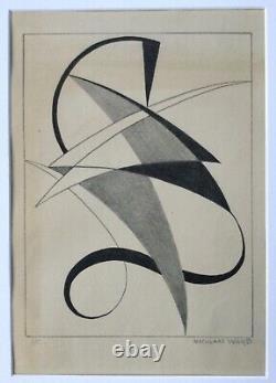 Nicolaas Warb (1906-1954) Rare Lithography Signed 1946 Constructivism Bauhaus