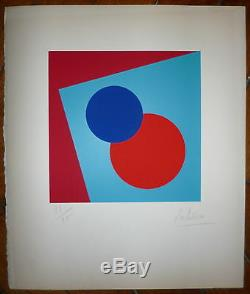 Olivieri L Signed Lithograph 1970 Art Abstract Geometric Abstraction