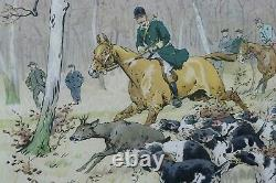 Original Lithograph 1914 Georges Louis Charles Busson Casse To Hounds