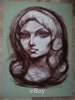 Original Lithograph Georges Oudot Besancon Test Artist Marie Hélène