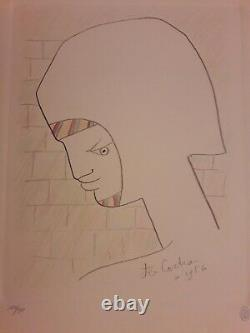 Original Lithography. Jean Cocteau. Signee And Date 1956