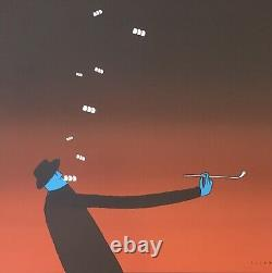 Original Lithography Jean-michel Folon Man Face Blue Pipe Marquet 1972