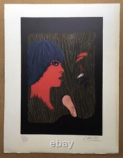 Original Lithography Portrait Woman Félix Labisse (1905-1982) Test Artist