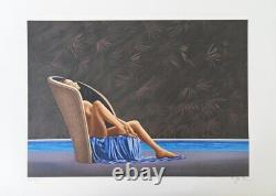 Patrick Le Hec'h The Swimming Pool Lithography Original Signed, 350 Ex
