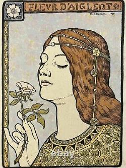 Paul Berthon, Pencil Lithograph, Art Nouveau, Symbolism, Woman