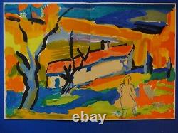 Pierre Ambrogiani The Provencal Hamlet Original Lithography Signed