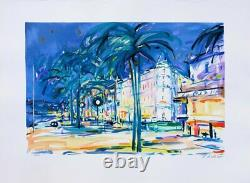 Pierre Bellier Cannes La Crusette Lithographie Signed In Pencil, 600ex