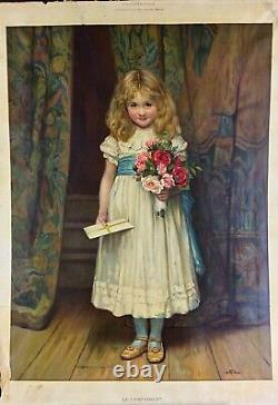 Rare Authentic Grande Chromo-lithography The Compliment 1889 C. T. Garland