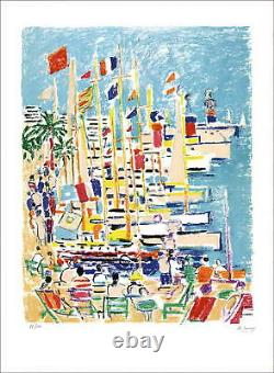 Robert Savary (1920-2000) Original Lithography Signed In Crayon, Port At Cannes