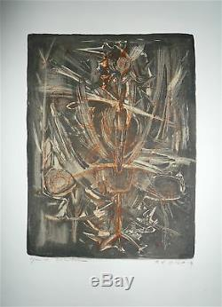 Roger Edgar Gillet Signed Lithograph 1959 Art Abstract Abstraction