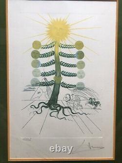 Salvador Dali Original Lithograph Signed Sun And Moon Sunflower Surrealism